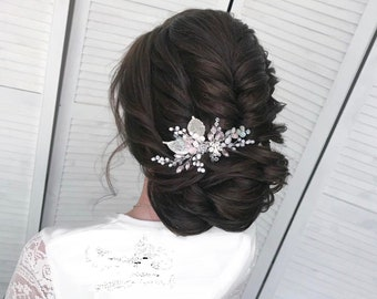 Wedding leaves comb. Silver Bridal Hair comb. Leaf hair comb. Leaves silver comb. Pearl hair piece. Silver leaf comb. Leaves hair piece