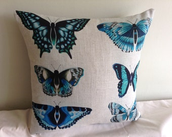 "Beige, blue, teal, grey  butterfly 16"" cushion cover,  pillow, scatter cushion."