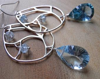Aquamarine Earrings, Birthstone Earrings, Laser Cut Blue Quartz Chandelier Earrings, style - Serendipity  - Gift Idea