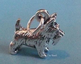 Sterling Silver Scotty Dog Charm -18.mm