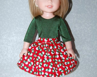 Skirt  for 14 inch Wellie Wishers Christmas Snowman - Doll Clothes  tkct1183 READY TO SHIP handmade