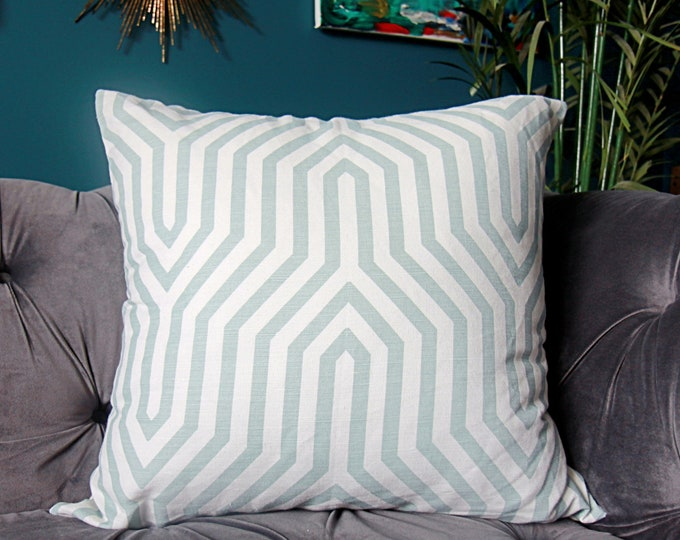 Schumacher Vanderbilt Print Pillow Cover in Mineral - Mary McDonald - Mineral Geometric Pillow Cover