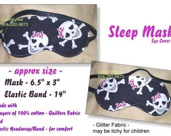 SLEEP Mask eye cover - Girlie GIRL SKULL with pink bow - / travel mask sleeping eye cover