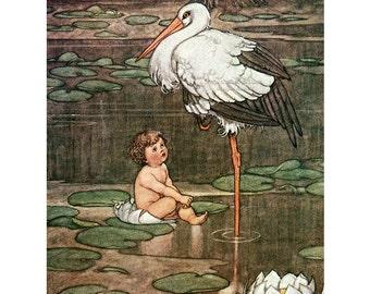 Stork and Baby Fabric Block | Hans Christian Andersen Fairy Tale | Heath Robinson