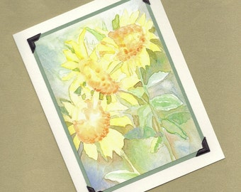 Sunflower Watercolor - An Elegant All Occasion Handmade Greeting Card PSS 0861