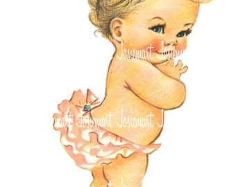 Baby Diaper Image Digital - Vintage Digital Download - Infant in Diaper Image -  Vintage Image Large PNG - Retro Children - Cute Kids