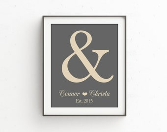 Ampersand Wedding Print | One Year Anniversary Gift for Him | Gift For Newlyweds | Wedding Gift | Gift for Couple | Established Date