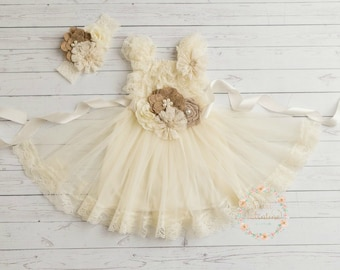 Rustic flower girl dress, junior bridesmaid dress, country flower girl dress,burlap Ivory flower girl dress, shabby chic country wedding