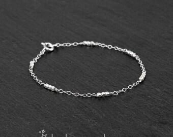 Sterling silver bracelet , Karen Hill Tribe faceted silver beads 2