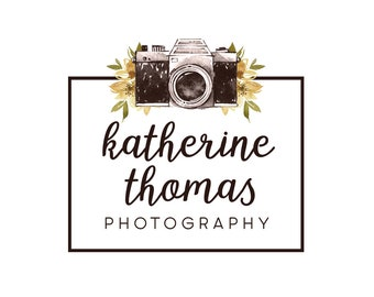 Camera logo premade logo design flowers logo photography logo small business logo graphic design