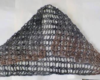 Openwork crochet evening wrap in metallic quartz
