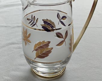 "Pint Pitcher ""Golden Foliage"" glass by Libbey frosted white and gold leaf, mid century bakeware"