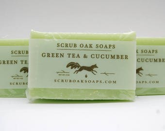 Handcrafted Green Tea & Cucumber Scented Soap Bar