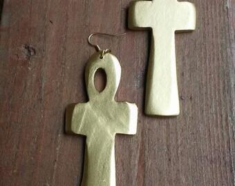 Gold egyptian cross earrings,  ankh earrings, gold ankh earrings, gold toned ankh earrings
