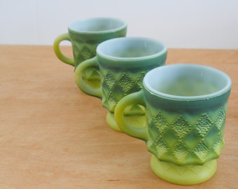 Vintage Kimberly Coffee Mugs • Green Fire King Cups • Set of 3 Anchor Hocking