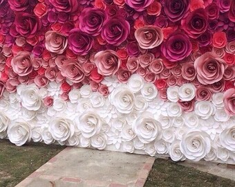 Large paper flowers etsy wedding backdrop large paper flowers paper flower backdrop wedding reception decor bridal shower decor floral backdrop mightylinksfo