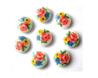 Vintage, cabochon, porcelain glass, 8pcs, made in Japan unique flowers ornament  7mm