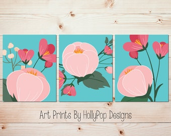 Girls Room Wall Art Flower Wall Decor Pink Aqua Wall Decor Bathroom Art  Prints Bedroom Wall