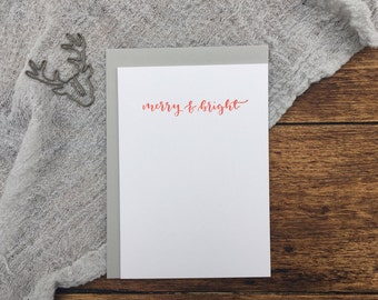 Merry & Bright Christmas Letterpress Card. Christmas Card. Greeting Card. Letterpress. Red Christmas Card. Simple Card.