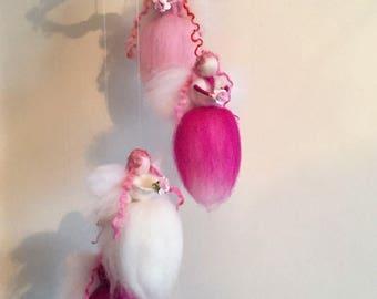 Fairy Mobile, Needle Felt Fairy Mobile, Hanging Fairy Mobile, Waldorf Inspired, Fairies