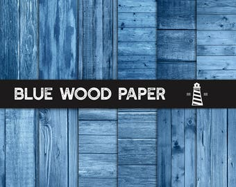 Blue Wood Paper, Blue Wood Textures, Blue Rustic Wood Planks, 12x12 Inches Wood Scrapbook Paper, Commercial Use, Instant Download, BUY5FOR8