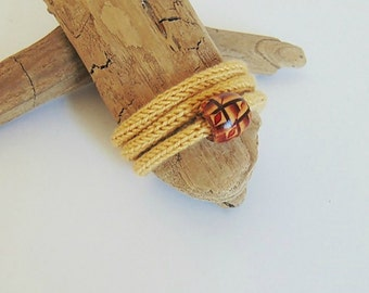 Knitted bracelet, knit bracelet, yarn bracelet, knitted jewelry, yarn jewelry, valentines day gift, yellow, mustard yellow, gift for her