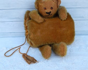 Rare Antique Mohair Bear Muff Glass Eyes, Rare Antique German Mohair Teddy Bear Child Muff