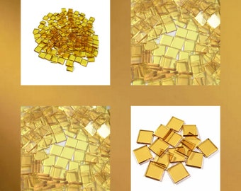 Light Amber Cathedral Squares Stained Glass Mosaic Tiles Hand Cut Transparent