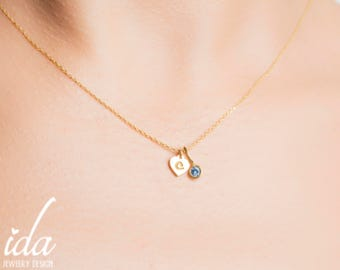 Gold Initial Necklace With Birthstone - Gold Necklace - Personalized Necklace - Birthstone Necklace - Personalized Bridesmaid Gift - Jewelry