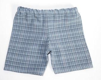 Fits Like American Girl Doll Clothes.  18-Inch Boy Doll Shorts.  Blue Plaid Shorts.