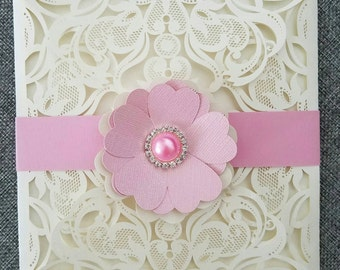 White cut laser Invitation/wedding invitation/invitaciones15años/sweetsixteen
