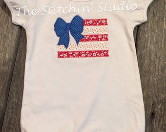 Patriotic American Flag with Bow Ruffled Romper