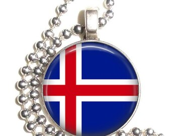 Iceland Flag, Altered Art Pendant, Earrings and/or Keychain, Round Photo Silver and Resin Charm Jewelry, Flag Earrings, Flag Key Fob