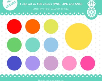 100 Colors Clip Art: Circle, Circle Clipart, Circle Clip Art, Round Tag, Circle Label, Rainbow Clipart, Planner Clipart, SVG, Digital Label