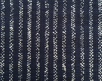 Sevenberry rustic stripe navy indigo blue Japanese cotton fabric
