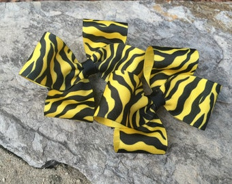 Zebra Hair Bows,Pigtail Hair Bows,French Barettes,4 Inches Wide,Birthday Party Favors