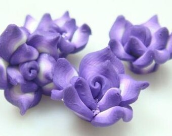 5 Piece Handmade Purple, White Clay Flower Bead Cabochons - Kawaii Decoden Flatback (TDK-C1550)