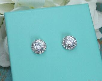 Stud Cubic Zirconia Halo Earrings, wedding jewelry, bridal jewelry, teardrop wedding earrings, Ansley Stud Earrings