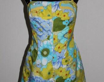 vintage gabar floral ribbon romper swimsuit