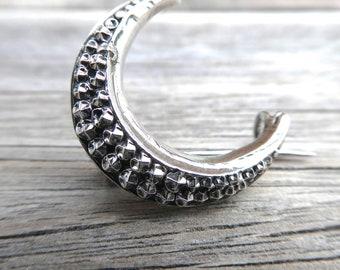 Silver Metal Crescent Moon Brooch