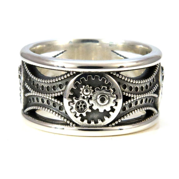 Silver Gear Ring - Steampunk Art Deco Mens Ring