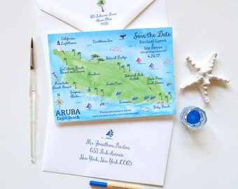 Save The Date Aruba, Beach Wedding Save The Date Card, Beach Save The Date, Destination Wedding Save The Date, Aruba