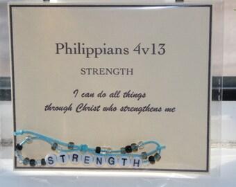 Bible verse bracelets STRENGTH Philippians 4v13 - ready to ship