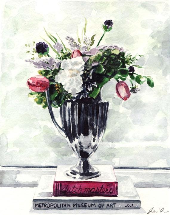 English Garden Flower Arrangement Art Print Floral