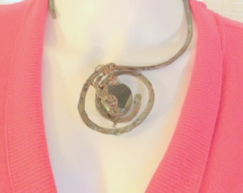 Hammered Copper Open Necklace Mongolian Turquoise or Geode, Sterling Silver, One of a Kind, free ship 189.00