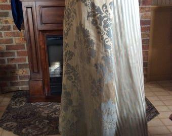 """Green skirt, 42""""-56"""" waist, beautiful luxurious fabrics, 110"""" hemline, floral, stripe, Renaissance, underskirt, 39"""" long"""