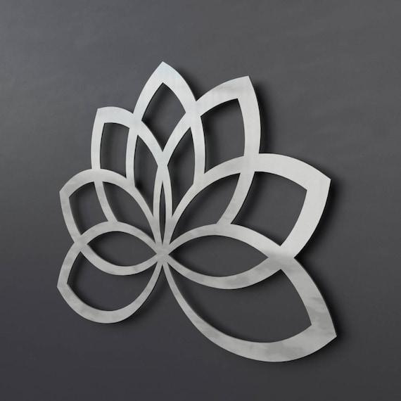 Lotus Flower Metal Wall Art Geometric Sculpture Lotus Metal
