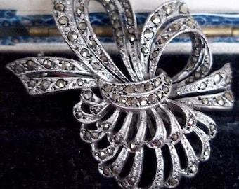Silver Marcasite Brooch, Marcasite Brooch, Silver Brooch, Silver Marcasite Brooch, Silver Pin, Marcasite, Vintage Jewelry, Vintage Brooch