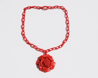 celluloid necklace vintage celluloid red rose pendant and chain excellent condition original celluloid clasp flower collectible jewelry