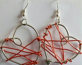 Valentines wire wrapped heart earring- perfect gift for her - show your love!